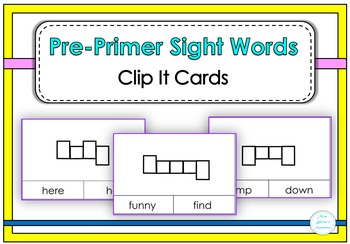 Pre-primer Sight Word Clip It Cards