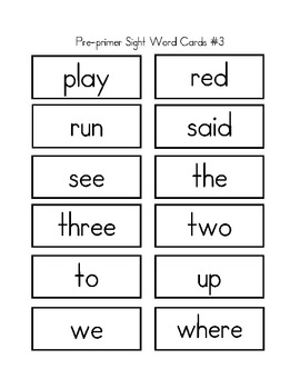 Pre-primer Sight Word Games
