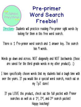Pre-primer Sight Word Search Freebie!