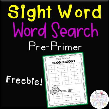 Pre-primer Sight Word Word Search Freebie