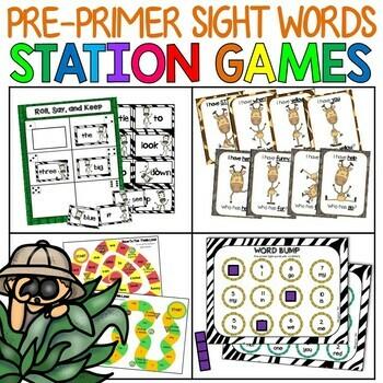 Pre-primer Sight Word Station Games