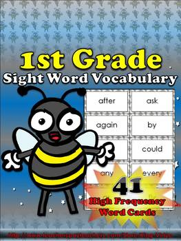 1st Grade Sight Word Vocabulary - 41 High Frequency Word Cards - King Virtue