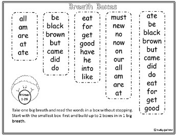 Breath Boxes for automaticity of Primer Sight Words