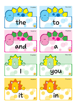 Pre-primer Sight Words -- Dino Theme Flash Cards