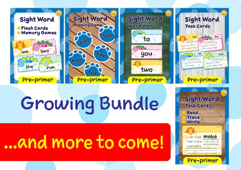 Pre-primer Sight Words -- Dino Theme GROWING BUNDLE