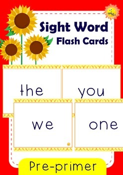 Pre-primer Sight Words: Flash Cards / Memory Game