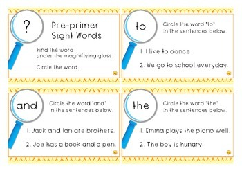 Pre-primer Sight Words: Task Cards