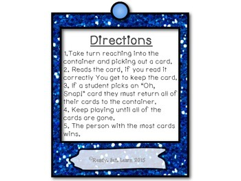 """Pre-primer Sight Words/Dolch Words """"Oh, Snap!"""" Game"""