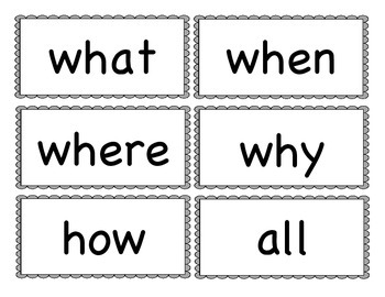 Pre-primer and Primer Word Wall Word Cards with Color and Question Words