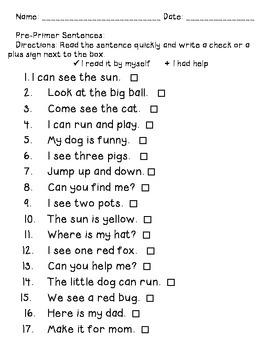 Pre-primer homework sentence fluency