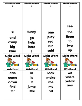 Pre-primer, primer, 1st grade sight word wristband (BUNDLE)