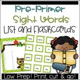 Preschool Sight Word List and Flashcards