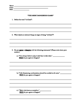 """Pre-read activity sheet for the short story """"The Most Dangerous Game"""""""