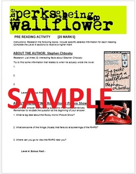 The Perks of Being a Wallflower Pre-reading Activity Web Quest