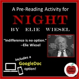 Pre-Reading Activity for Night by Elie Wiesel - Distance Learning