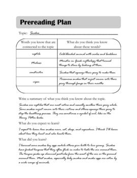 Pre-reading Plan Graphic Organizer