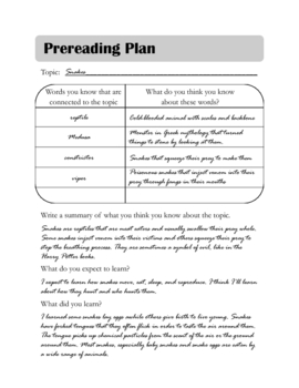 Pre-reading Plan Graphic Organizer