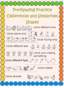 Pre-reading Practice – Differences and Similarities - Shapes