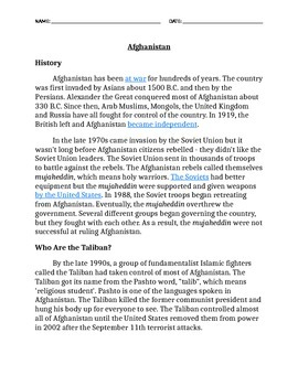 Pre-reading The Breadwinner Afghanistan Taliban Info
