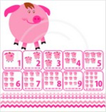 Pre-school Piggy Clipart, Borders, 10 Number Cards. Flash Cards