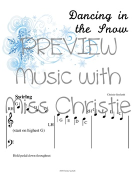 Pre-staff Piano Music for Beginner Students: Dancing in the Snow