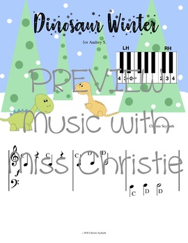 Pre-staff Piano Music for Beginner Students: Dinosaur Winter