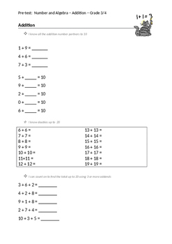 Pre-test for Addition and Subtraction Grade 3/4 (Editable!)