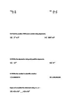 Pre-test for pre-algebra