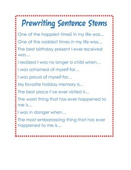 Pre-writing Sentence Stems