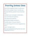 Pre-writing Sentence Stems