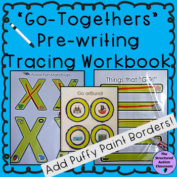 Pre-writing Tracing Workbook with Associations  (re-usable) for Autism