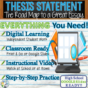THESIS STATEMENT - Introduction to Writing - High School