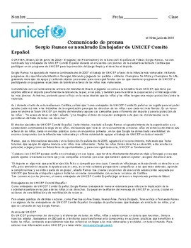 PreAP, AP Spanish Reading – Sergio Ramos UNICEF (ciudadanía global; comunidad)