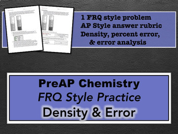 PreAP Chemistry Density & Error FRQ