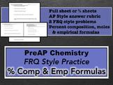 PreAP Chemistry Percent Composition & Empirical Formulas FRQs