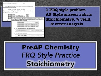 PreAP Chemistry Stoichiometry FRQ