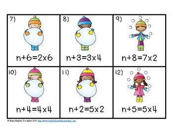 PreAlgebra Balancing Number Equations Snowballs