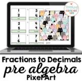 PreAlgebra Changing Fractions to Decimals Pixel Art