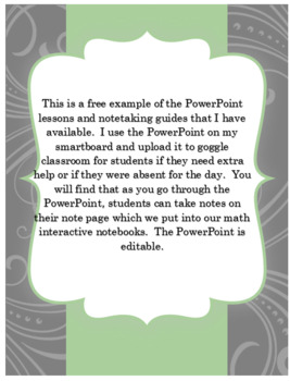 PreAlgebra Order of Operations PowerPoint and Note taking Guide for INB