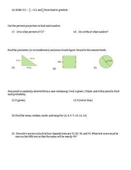 PreAlgebra Pretest