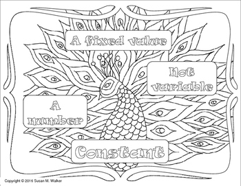 PreAlgebra Vocabulary Coloring Word Wall Set 4 (8 terms) with Template