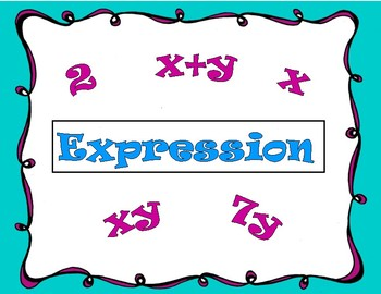 PreAlgebra Vocabulary Coloring Word Wall Posters Set 1 (12 Terms) with template