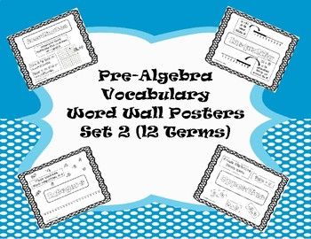 PreAlgebra Vocabulary Coloring Word Wall Posters Set 2 (10