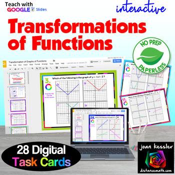 PreCalc Interactive Transformation of Functions Digital Task Cards GOOGLE