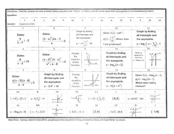 PreCalc NoCalc Mathacrostics #12