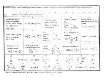 PreCalc NoCalc Mathacrostics #15