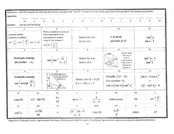 Precalc Nocalc Mathacrostics 16 Inverse Trig Functions Simplify