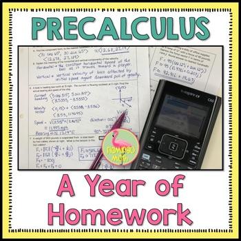 PreCalculus A Year of Homework Bundle