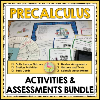 PreCalculus: A Year of Review Quizzes and Tests Bundle