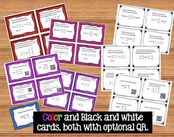 PreCalculus  Algebra 2  Matrices  Task Cards  QR  Quiz HW